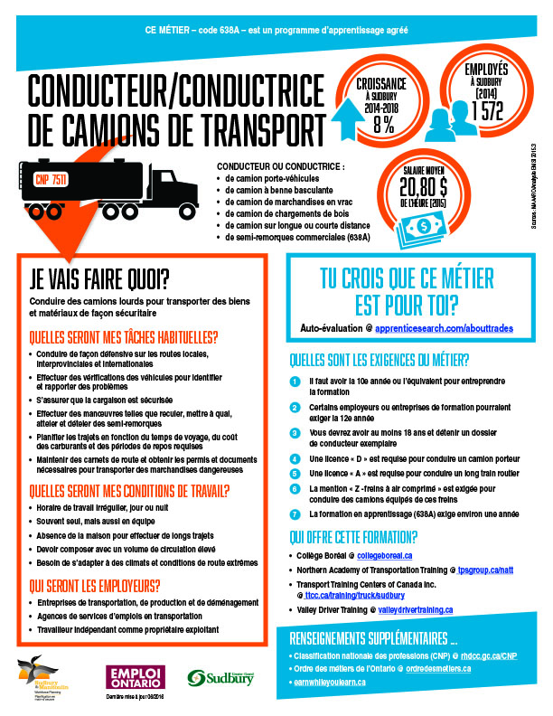Conducteur/conductrice de camions de transport